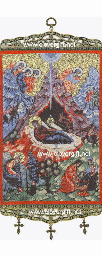 Woven Religious Tapestries Nativity Baptism Mary